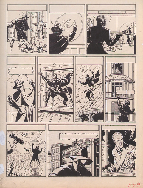 Edgar Pierre Jacobs, Les Aventures de Blake et Mortimer. «La Marque jaune», planche originale n° 26 (1953-1954). Copyright Editions Blake & Mortimer / Studio Jacobs (Dargaud-Lombard S.A.), 2020. Avec leur aimable autorisation.